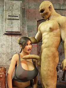 Huge Tits Lara Croft Gets Mouth Drilled Hard by a Fat Cock