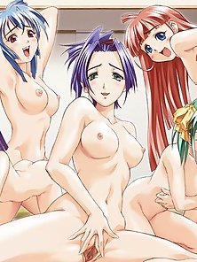 Three Horny Hentai Chicks Enjoyed Naughty Sex Pleasure