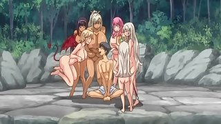 Anime Whores Displaying Their Naked Bodies before Enjoying Group sex with one cock and many pussies
