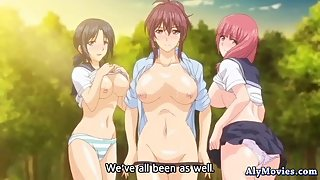Busty anime babes sharing cock outdoors