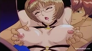 Horny anime college chick gets fingered and fucked