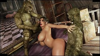Lara Croft gets captured in the attic by two monsters who fuck her face and titties