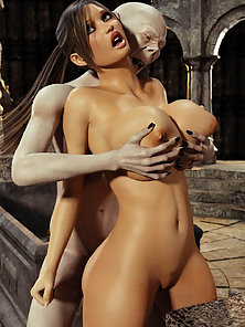 Hot Lara Croft Gets Boobs Pressed and Pussy Drilled Hard form Backside