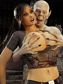 Lara Croft Gets Boobs Pressed and Mouth Drilled Hard