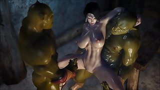 Hentai Princess Gets Screwed Up By Two Monster Orcs