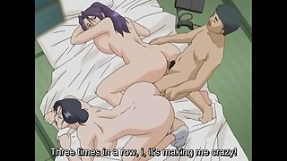 Dirty hentai brother is ass fucking his sister and mom in anal threesome