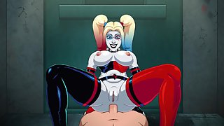 Harley Quinn deepthroats your cock and then slams her ass down on you