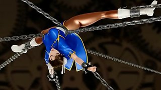 Chun Li from street fighter is chained up and group fucked