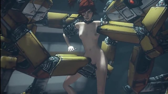 Redheaded Borderlands babe gets her pussy roughly used by two giant robots