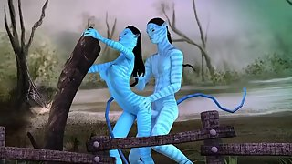 Sexy babe from Avatar gets her mouth fucked and her pussy drilled by big blue cock