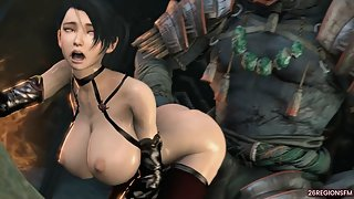 Momiji The Demon Hunter goes crazy for a giant beast cock