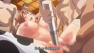 Dirty anime slut in cow stockings get gangbanged in every stretched hole