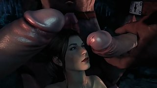 Lara Croft gets her shaved pussy impaled by huge troll cocks