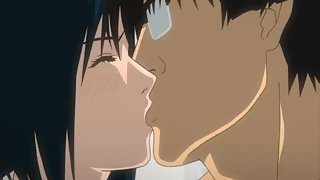 Passionate kissing leads these two anime strangers in to having sex with each other