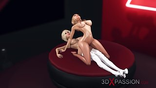 3d hot shemale fucks a horny blonde model on the fashion stage