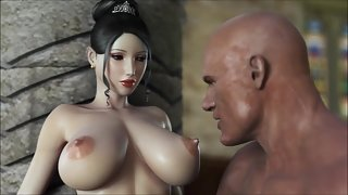Bald headed beast man has his way with busty princess