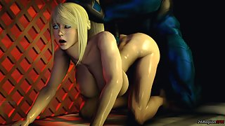 Samus Aran VS Big Lizard Dick going deep in her asshole