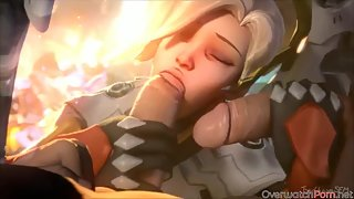 Lovely Mercy and Pharah get fucked hard