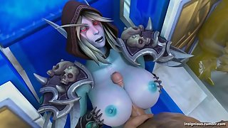 Slyvannas gets her massive elf titties fucked followed by a facial finish
