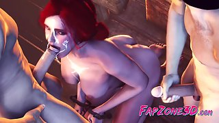 The Witcher Triss Merigold used as lusty fuck toy - 3d toon music video