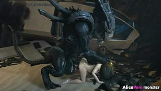Huge dick alien fucking Samus Aran rough doggy style