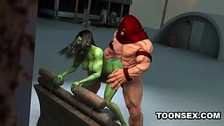 3D Juggernaut fucks the super sexy She-Hulk