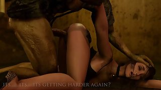 Dirty slut is peeing in the basement when a zombie grabs her and face fucks her