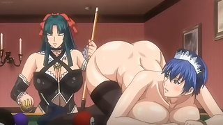 Busty anime maid gets billiard balls shoved up her asshole then fucked by futa master
