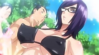 Goddess of Spectacles 2 - Busty hentai schoolgirl fucks her younger brother in the public shower