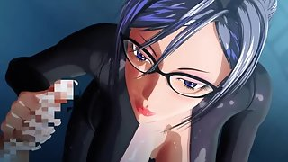 Hentai 3D brunette with glasses is sucking on a limp cock to turn it in to a boner