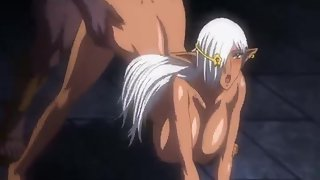 Evil king has a hot threesome with two busty anime elf girls