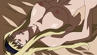 Busty anime redhead seduces man in the sauna then titty fucks him to facial