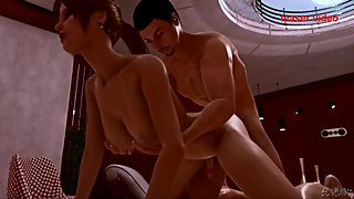 Sexy Tgirl shemale riding cock in her asshole in 3d animation