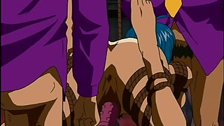 Purple dildo is rammed in this anime girl's snatch while she is tied up with rope
