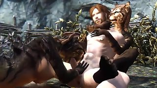 Panther woman from skyrim enjoys pussy licking outdoors and a fuck