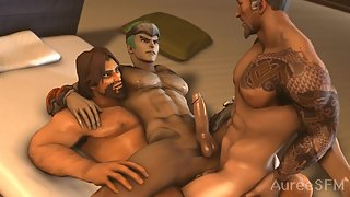 Hanzo and McCree fuck Genji - Overwatch gay 3some