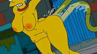 Marge Simpson gets impregnated by alien tentacles in dirty alley