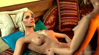 Triss and Ciri from Witcher have a futa fuck with explosive cumshot