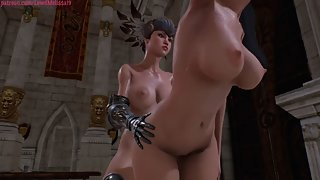 Futa warrior queen has a tattooed elf servant pleasure her throbbing cock