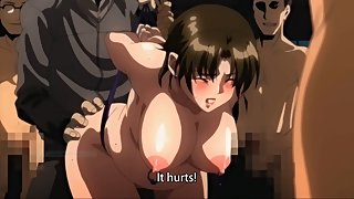 Dirty mature hentai slut gets gangbanged while crowd of pervy guys watch