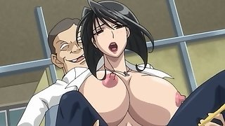 Busty anime teacher is caught masturbating and is fucked by two students