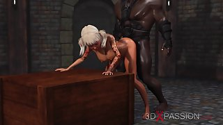 Cruel black man face fucks sweet 3d schoolgirl in the dungeon