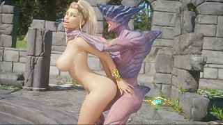 Busty 3d blonde deepthroats a demon cock then takes rough doggy style pounding