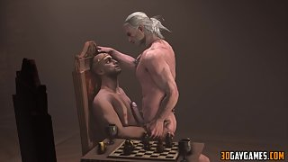 Geralt from the Witcher gets gay ass fucked in missionary style