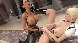 Futa babes in schoolgirl & kinky uniform having 69 sex in a museum