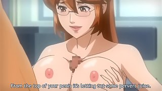 Busty hentai nurse sucks a students cock in the school infirmary