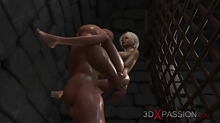 Young blonde 3d virgin dreams of being fucked by a big black cock in prison