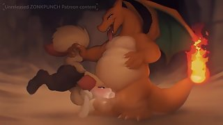 Charizard grabs a furry animal friend and gives her a face fucking