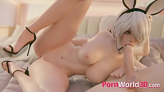 3D Animation with 2B has Huge Round Tits Blowjob Compilation