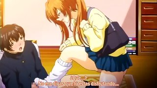 Busty redhead schoolgirl gives a footjob and a horny blowjob
